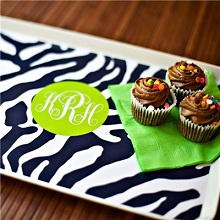 Clairebelle Zebra Print Melamine Tray
